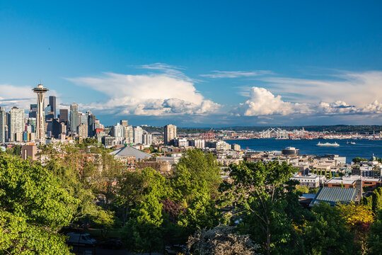 Downtown Seattle and Elliott Bay on a summer day.