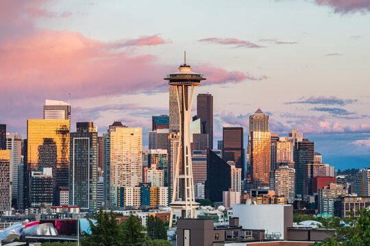 Downtown Seattle at sunset on a summer day.