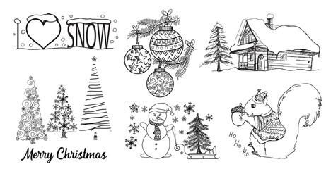 Wesołych Świąt, szkic, rysunek zima, domek drewniany, bałwan