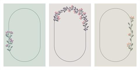 Roślinne ręcznie rysowane ramki w pastelowych kolorach - szablony idealne na jesienne lub letnie wesele, zaproszenia urodzinowe, baby shower, dla mamy, voucher, wzór menu. Wektorowe ilustracje,