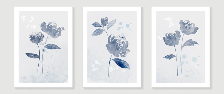 Blue flower watercolor art triptych wall art vector. Abstract art background with sweet orange and pink Floral Bouquets, Wildflower and leaf  hand paint design for wall decor, poster and wallpaper.