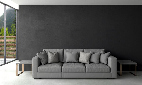 Modern living room interior design and black texture wall background