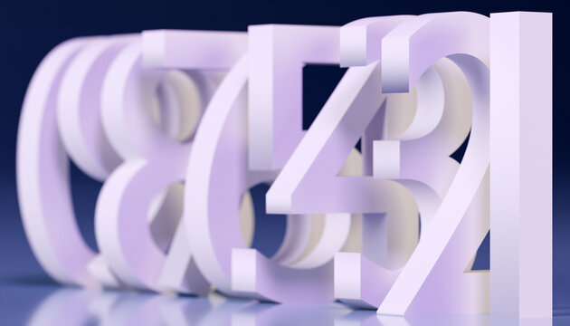 3d illustration large white volumetric letters stand in a row one after another with shadows on a blue background. A set of mathematical numbers