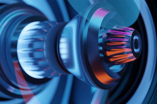 3D rendering future engine rocket turbine technology under blue and purple light.  Futuristic part of a spacecraft turbine