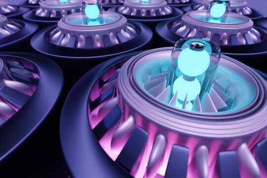 3d illustration of a futuristic part of a spacecraft turbine
