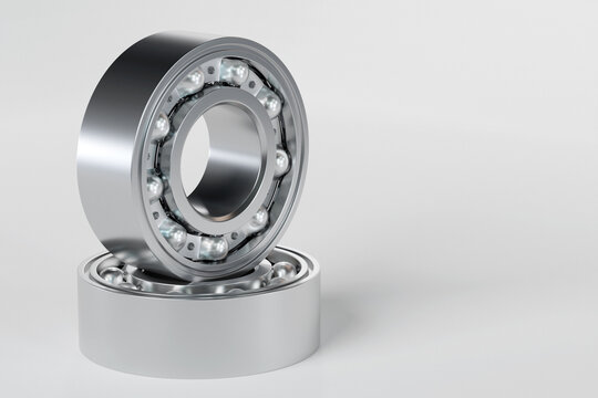 3D illustration metal silver ball bearing with  balls on   white  isolated background. Bearing industrial. This part of the car