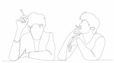 guy, man smoking one continuous line drawing, sketch