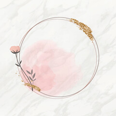 Blooming round floral frame vector