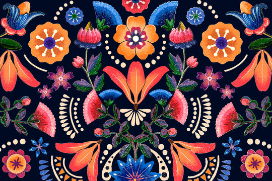 Mexican ethnic flower pattern vector