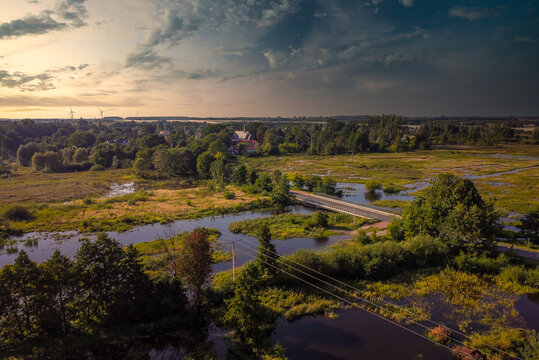 Flight over the small river in the center of Poland.