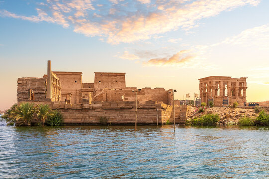Philae island and Trajan's Kiosk in the Nile, Aswan, Egypt