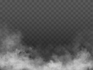 Fototapeta Fog or smoke isolated transparent special effect. White vector cloudiness, mist or smog background. Vector illustration obraz