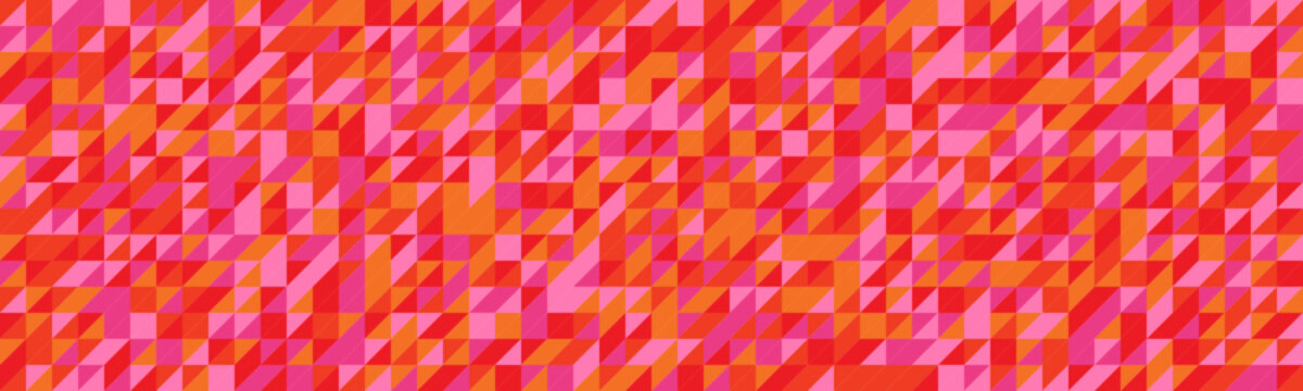 Wide vector background composed of triangles in pink, red and orange tones