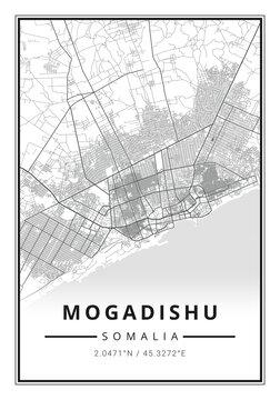 Street map art of Mogadishu city in Somalia - Africa