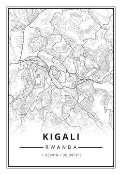 Street map art of Kigali city in Rwanda - Africa