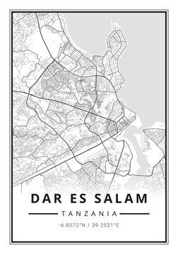 Street map art of Dar Es Salam city in Tanzania - Africa