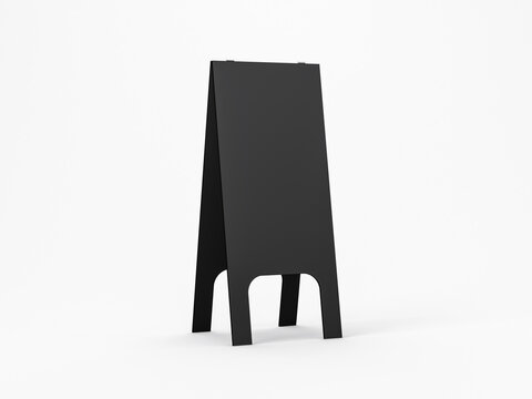 Tall wooden Black Chalkboard Street Stand isolated on white Mockup