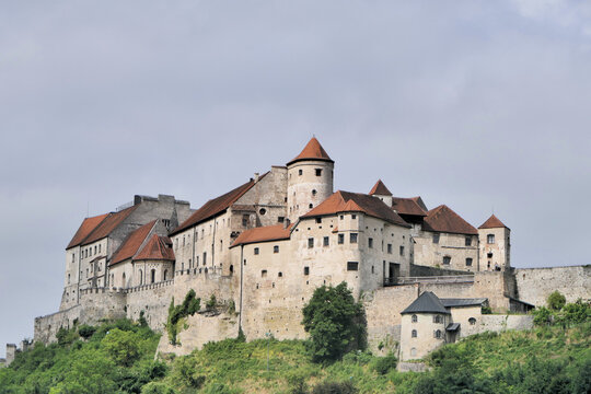A medieval castle in the mountains