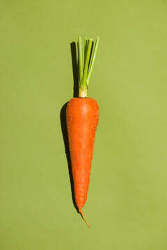 Top view of an carrot on green background.