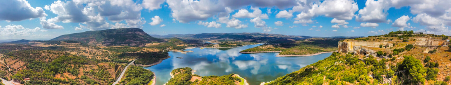 Aerial view of Lake Temo under a cloudy sky
