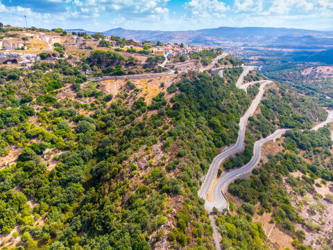 Aerial view of hairpin turns by Monteleone Roccadoria