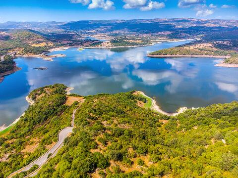 Aerial view of green vegetation in Temo lake shoreline