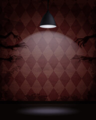 Obraz Aged old room with red diamond-shaped grunge wallpaper, hanging lamp and shadows of creepy hands - fototapety do salonu