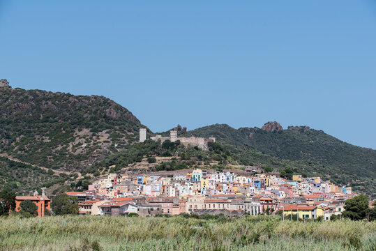 The village Bosa along the West Coast of Sardinia, Italy.