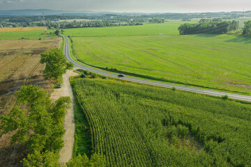 Asfaltowa droga przebiegająca przez pola uprawne. Widok z drona.