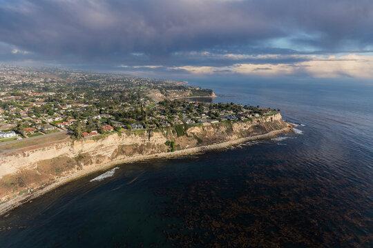 Palos Verdes Estates California Coast Aerial Storm