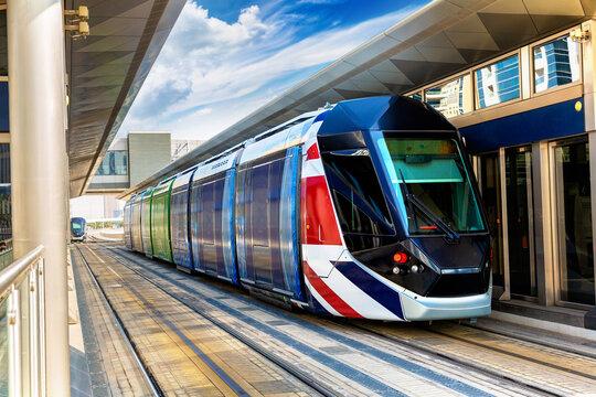 New modern tram in Dubai