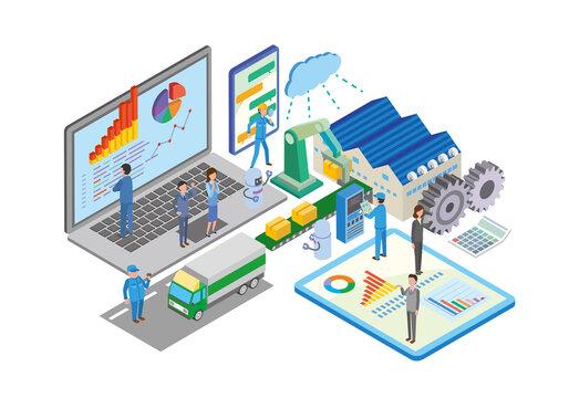 製造流通ビジネスのデジタル化アイソメトリックイラスト