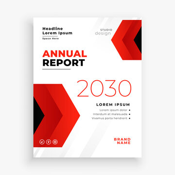 modern red annual report business brochure flyer template design