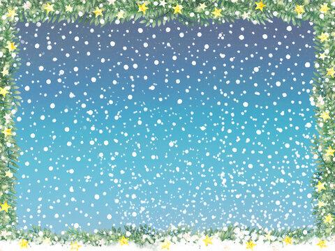 明るい雪空と星とリーフのフレーム