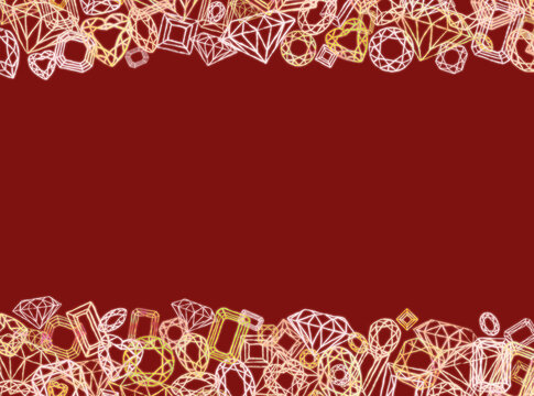 シックな赤い背景とキラキラジュエリーのフレーム