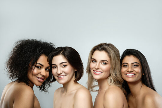 Multi-ethnic beauty and friendship. Group of beautdifferent ethnicity women.