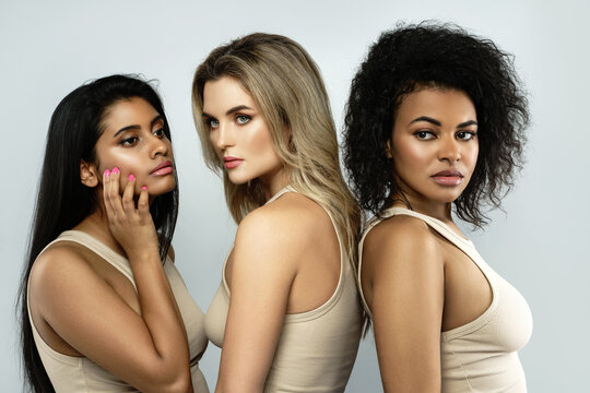 Multi-ethnic beauty and friendship. Group of beautiful different ethnicity women.