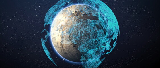 Global world network and telecommunication on earth cryptocurrency and blockchain and IoT. Elements of this image furnished by NASA