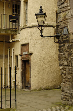 Lady Stairs close and lamp in Edinburgh