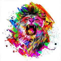 Fototapeta colorful artistic roaring lioness muzzle with bright paint splatters on dark background obraz