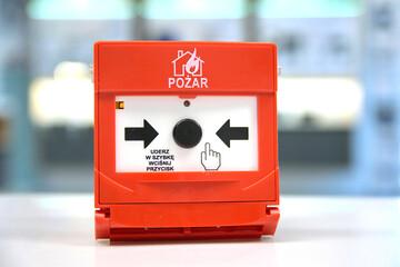 ROP, ręczny ostrzegacz pożarowy. Przycisk. Pożar.