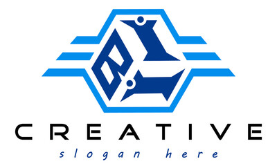 emblem badge with wings BII letter  logo design vector, business logo, icon shape logo, stylish logo template