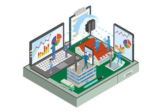 会社内クラウドネットワークのイメージイラスト