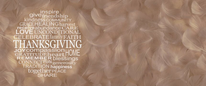 Words associated with  THANKSGIVING Word Circle - wide golden fluffy feather background with a round Thanksgiving word cloud on left side and copy space on right