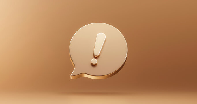 Gold important exclamation icon sign or attention caution mark illustration graphic element symbol on golden background with warning problem error update message button design concept. 3D rendering.