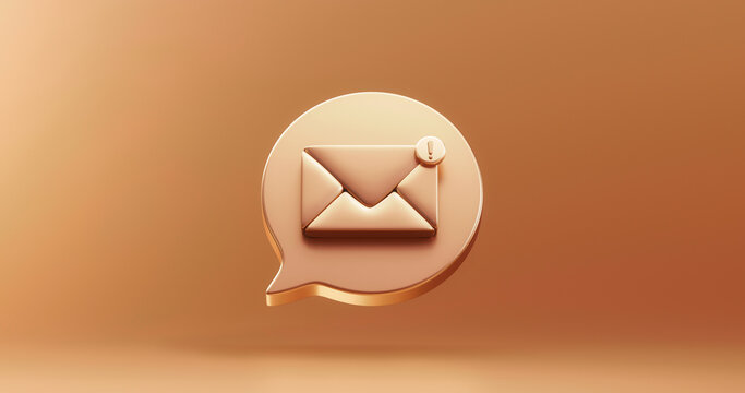 Gold SMS mail notification message icon bubble symbol or new contact alert chat and web flat design on golden background with bubble of social communication email reminder notice sign. 3D rendering.