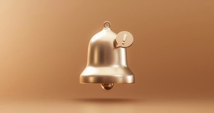 Gold important update notification bell alarm icon or receive email attention sms sign and internet message illustration on golden background with web communication symbol element. 3D rendering.