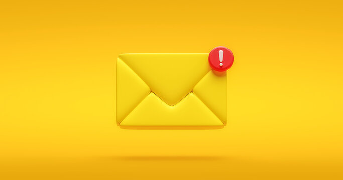 Yellow notification message icon symbol or new chat social internet communication contact sign and illustration bubble information on flat design background with simple media element. 3D rendering.