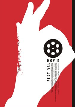 Minimalist poster design for movie festival. OK hand gesture silhouette and film roll in negative space. Artistic minimal cinema poster idea for movie night. Vector illustration.