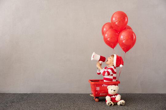 Portrait of happy child wearing Christmas costume